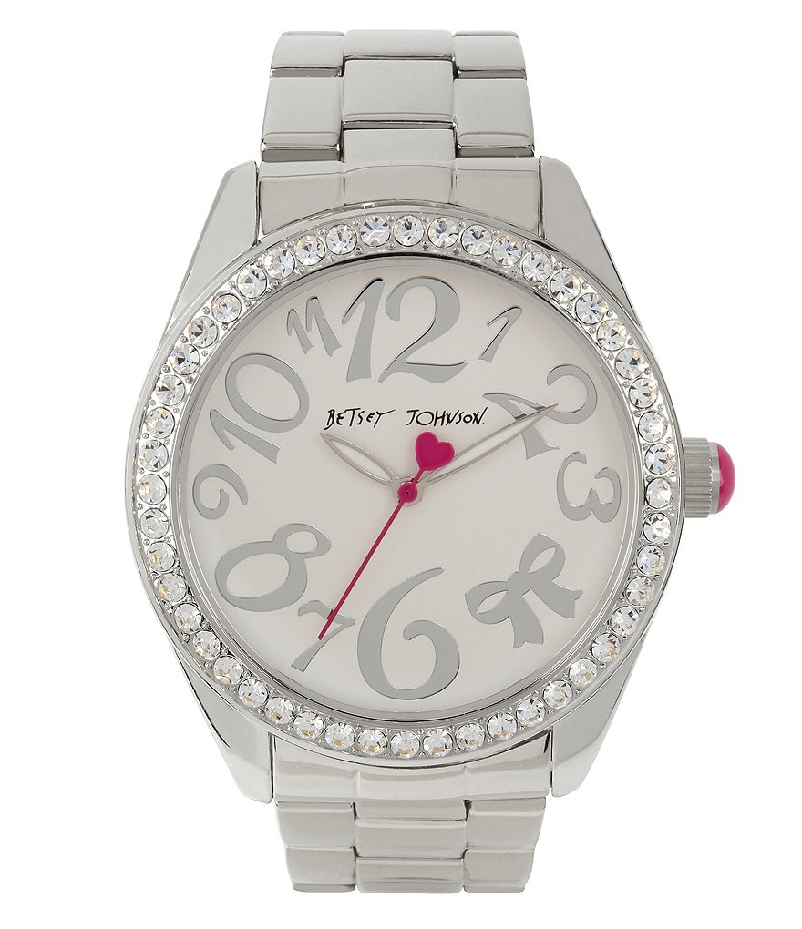 Betsey Johnson Bow Glitz Analog Bracelet Watch