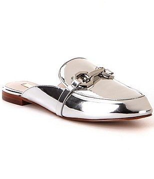 Louise Et Cie Finay Metallic Leather Dress Mules
