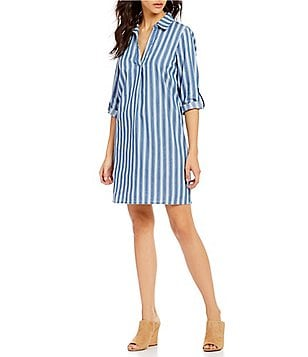 Skies Are Blue Point Collar V-Neck Roll-Tab Sleeve Striped Chambray Shirt Dress