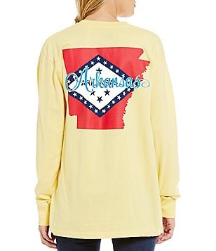 Royce Arkansas Script Flag Long Sleeve Graphic Tee