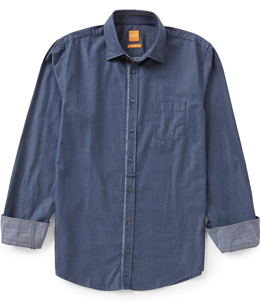 BOSS Orange Eslime Slim-Fit Long-Sleeve Solid Twill Woven Shirt
