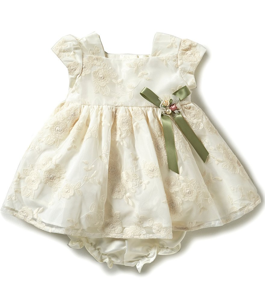 Laura Ashley London Baby Girls Newborn-24 Months Embroidered Lace-Overlay Dress
