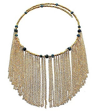 Panacea Chain-Fringe Coil Choker Necklace