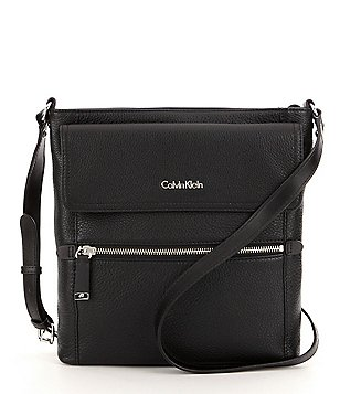 Calvin Klein Pebble Leather North/South Cross-Body Bag