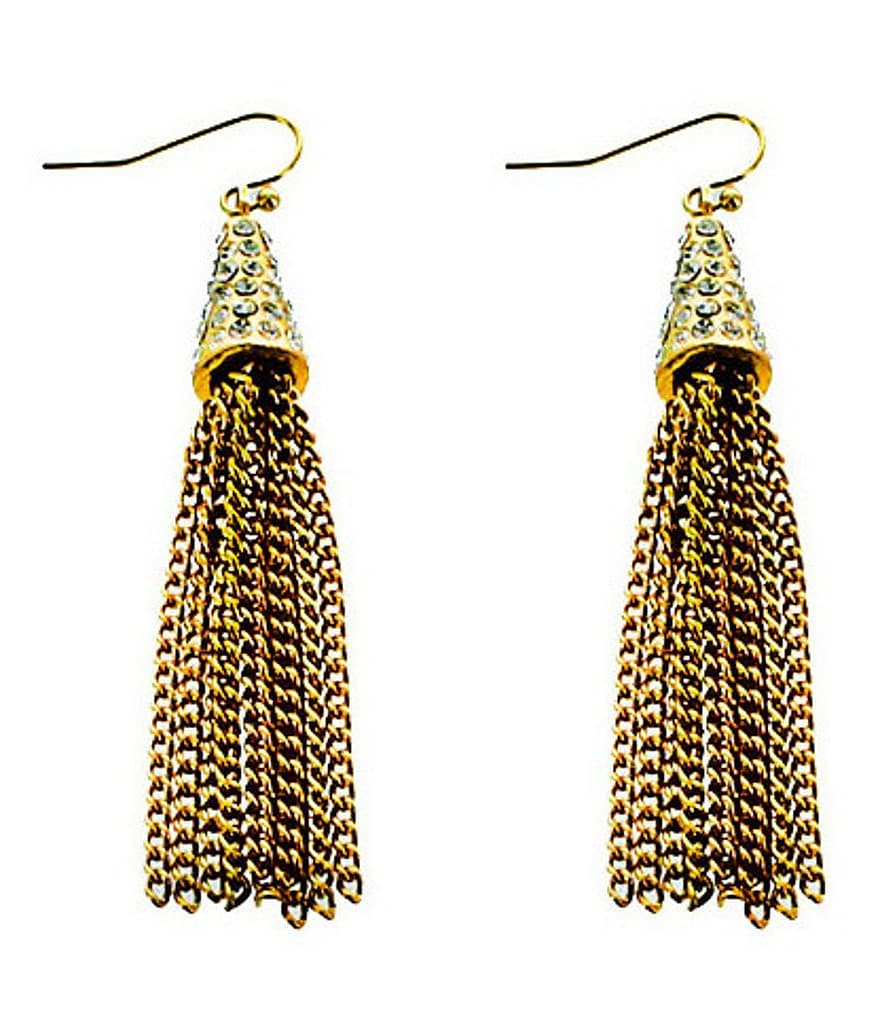 Panacea Pavé & Chain-Fringe Earrings
