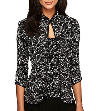 Alex Evenings Printed Mandarin Collar 2-Piece Twinset