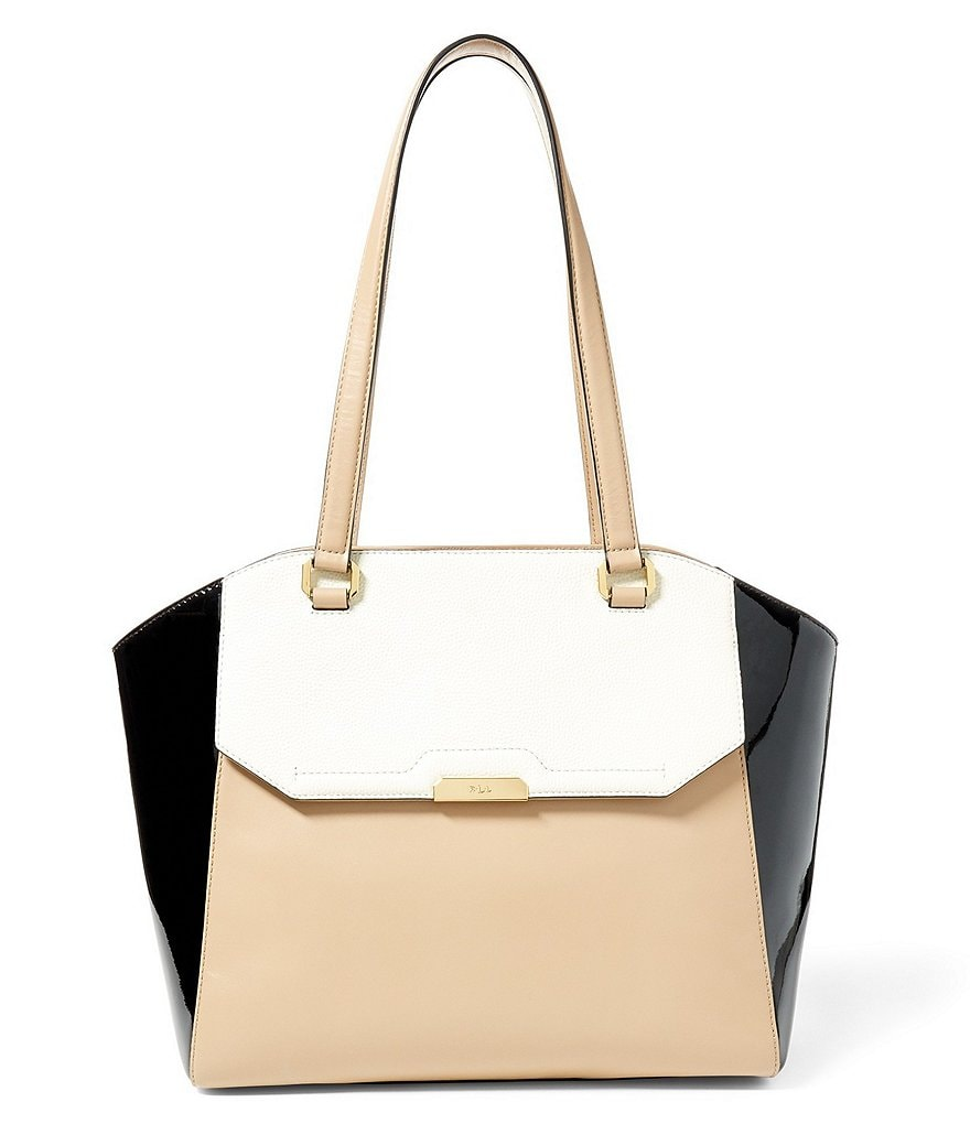 Lauren Ralph Lauren Mitford Collection Abriana Color Block Tote