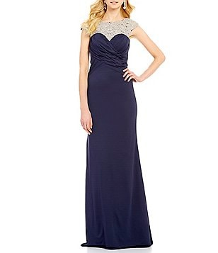 Lasting Moments Cap-Sleeve Beaded Yoke Gown