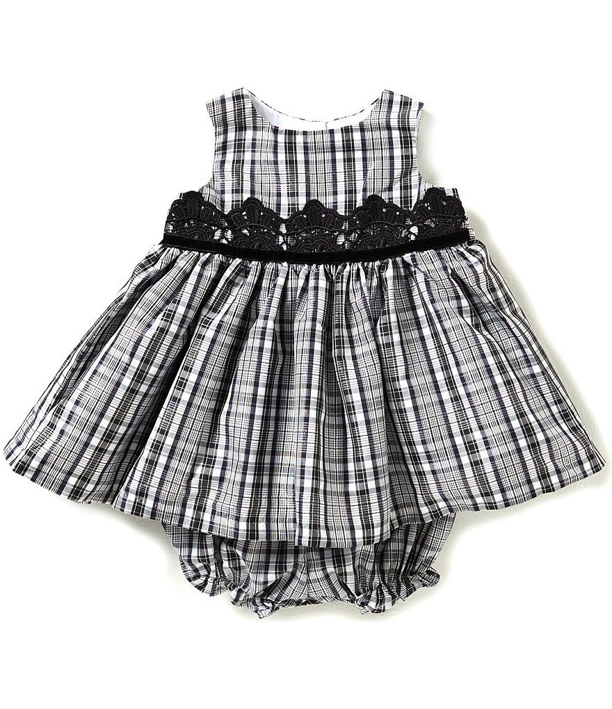 Pippa & Julie Baby Girls Newborn-24 Months Lace-Trim Plaid A-Line Dress