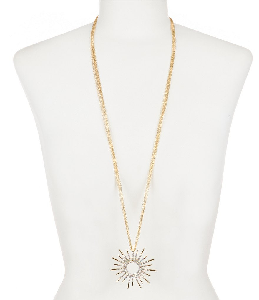 Natasha Accessories Crystal Starburst Long Pendant Necklace