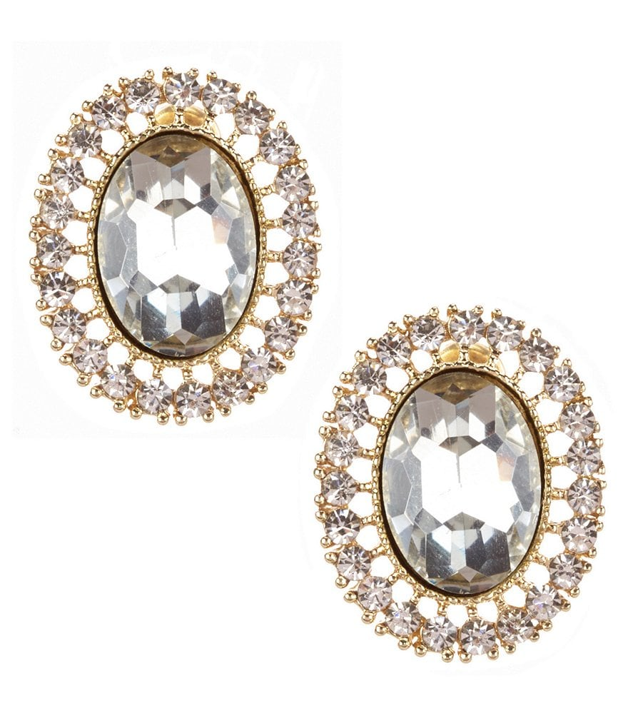 Natasha Accessories Oval Filigree Stud Earrings