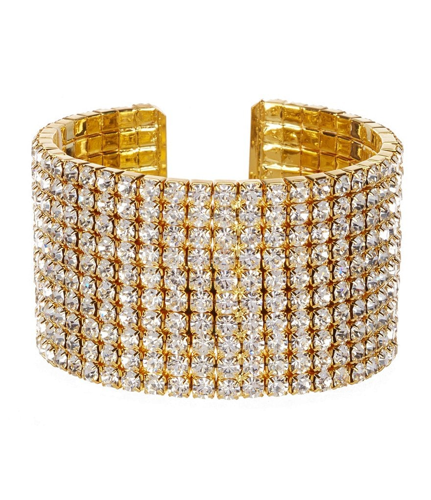 Natasha Accessories Multi-Row Crystal Cuff Bracelet