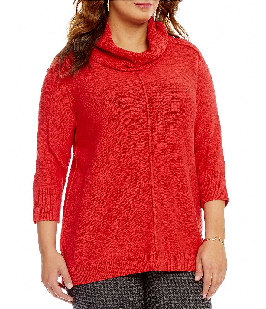 Vince Camuto Plus Exposed Seam Cowl Neck Pullover Sweater