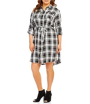 Vince Camuto Plus Shadow Check Utility Shirt Dress