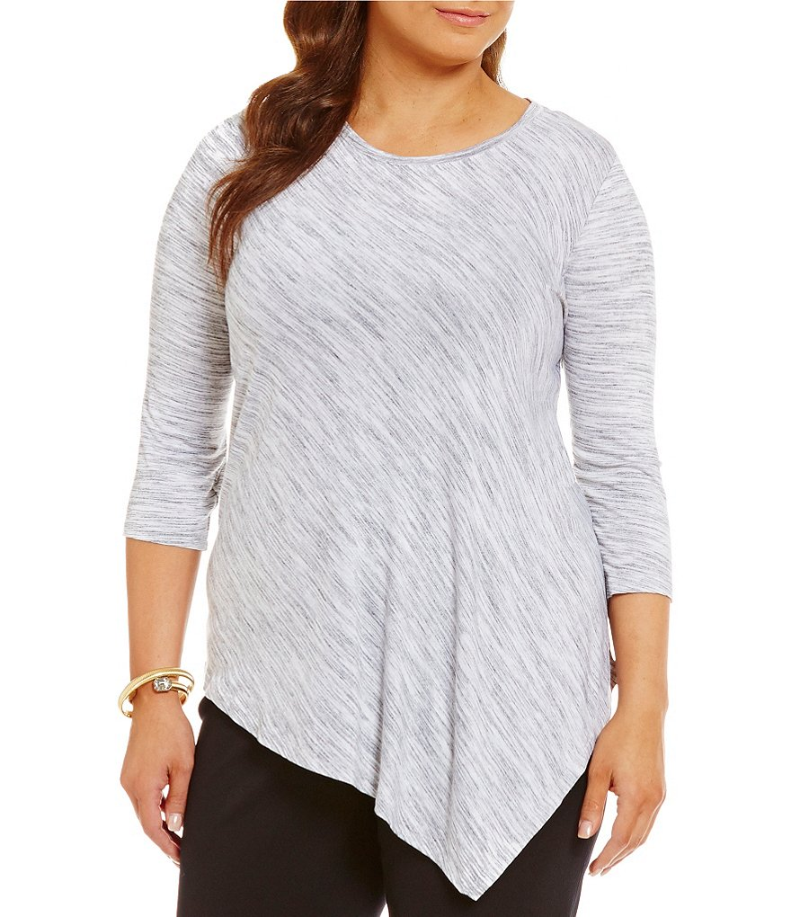 Vince Camuto Plus Asymmetric Space Dye Top