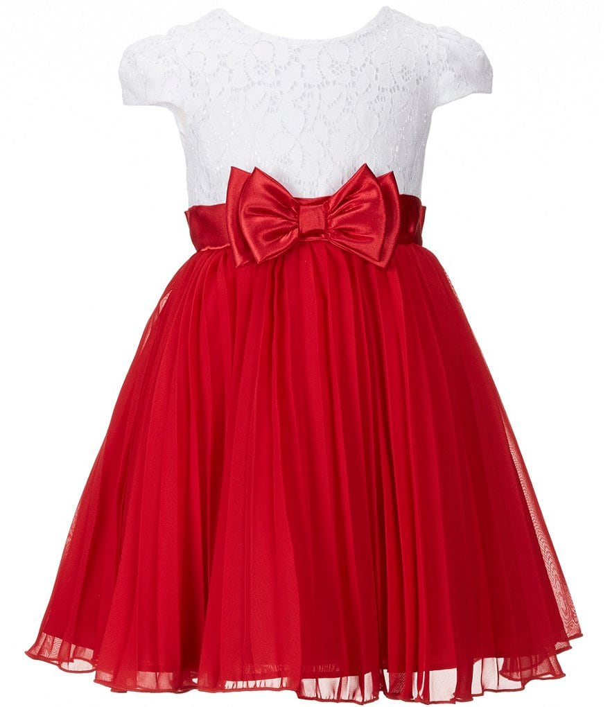 Sweet Heart Rose Little Girls 4-6X Holiday Lace Bodice Pleated-Skirt Bow Dress