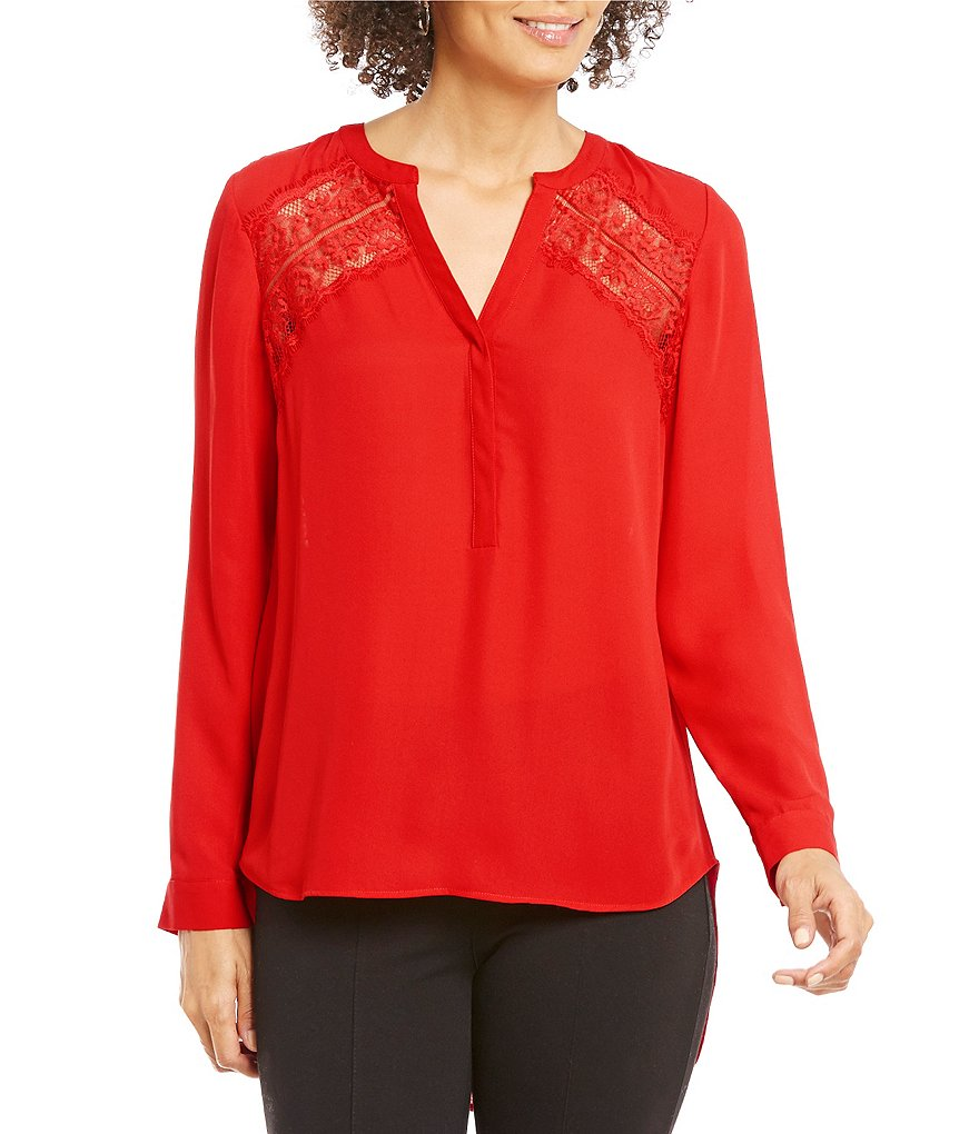 Gibson & Latimer V-Neck Long Sleeve Lace Inset Blouse