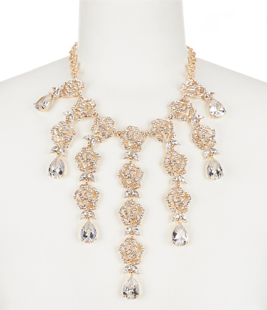Natasha Accessories Vintage Rose Crystal Statement Necklace