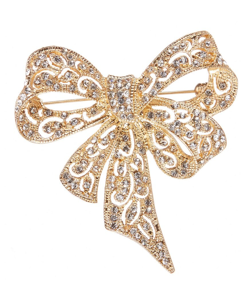 Natasha Accessories Crystal Bow Pin