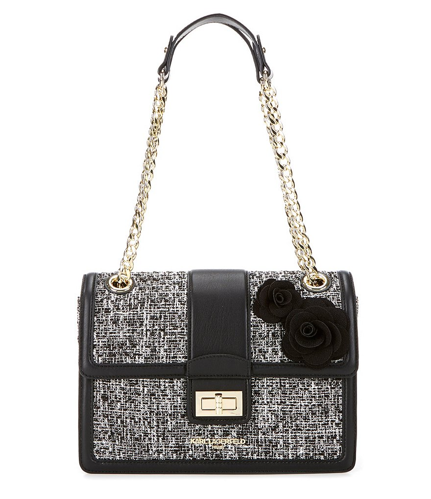 KARL LAGERFELD PARIS Agyness Tweed Rosette Shoulder Bag
