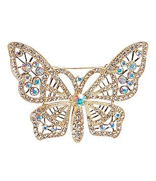Natasha Accessories Crystal Butterfly Pin