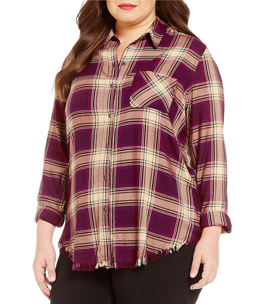 Westbound Plus Raw Fringe Hem Button Front Shirt