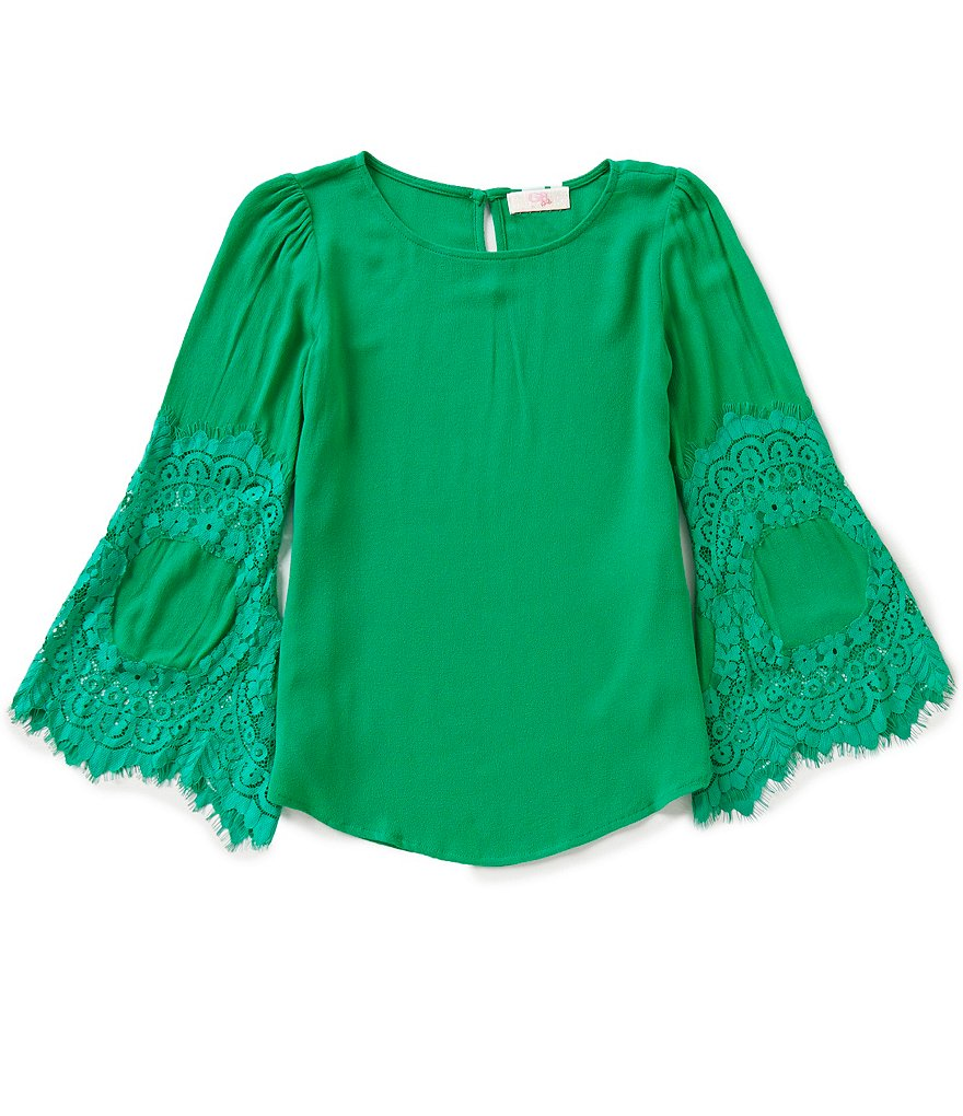 GB Girls Big Girls 7-16 Bell-Sleeve Lace Top