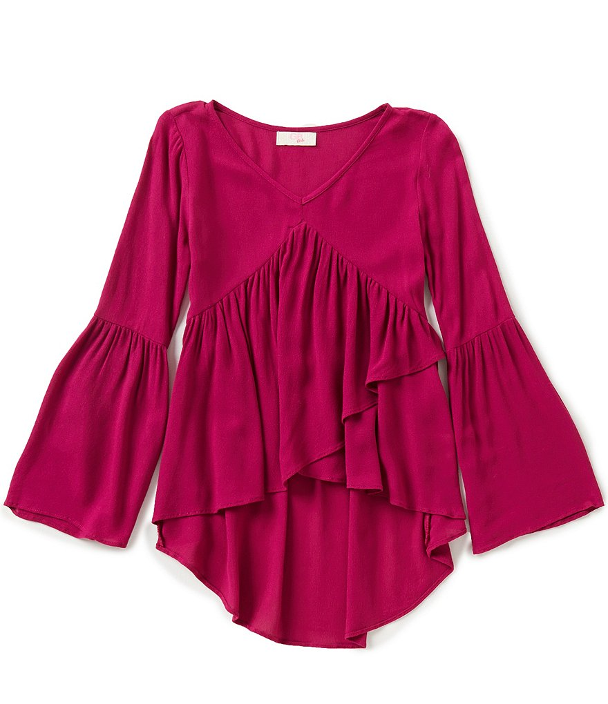 GB Girls Big Girls 7-16 V-Neck Wrap High-Low Blouse