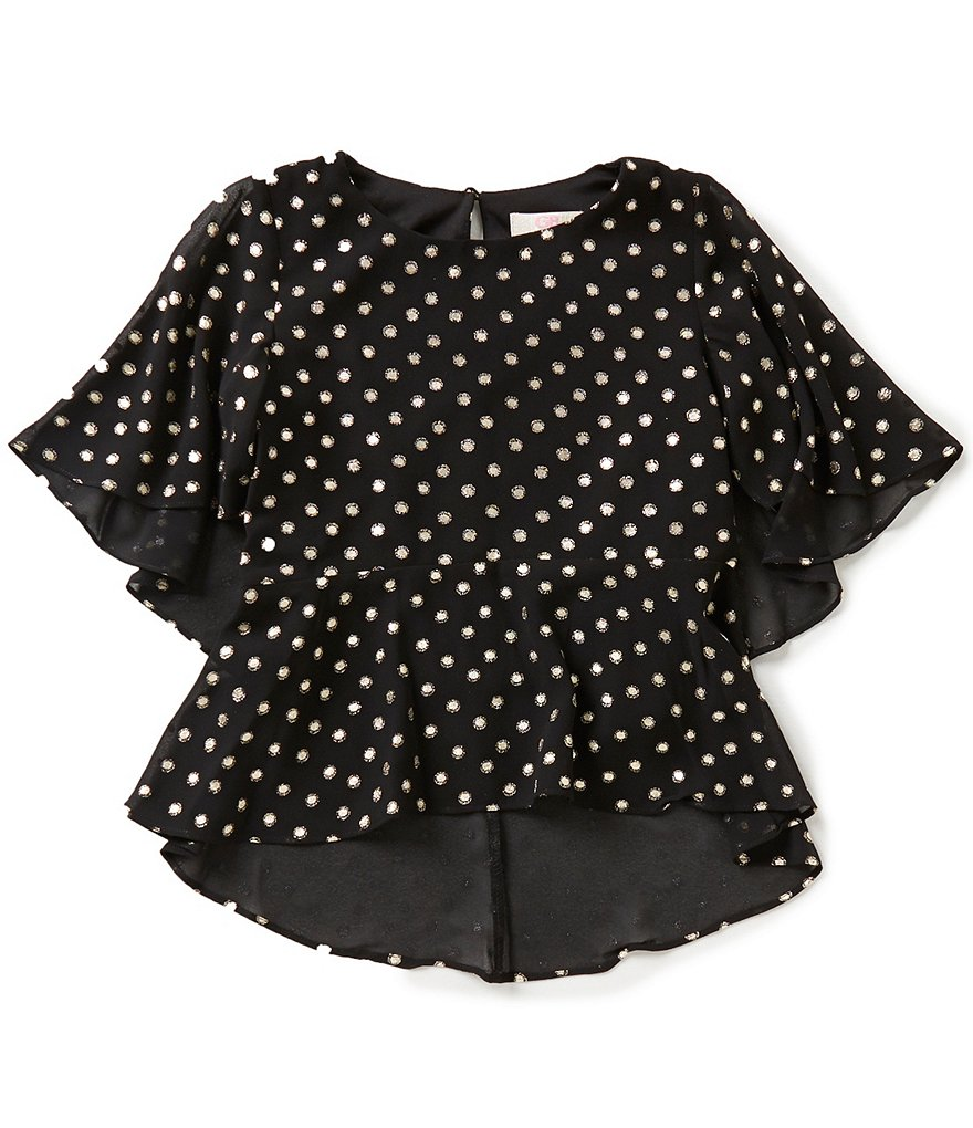 GB Girls Big Girls 7-16 Metallic-Foil Dotted Blouse