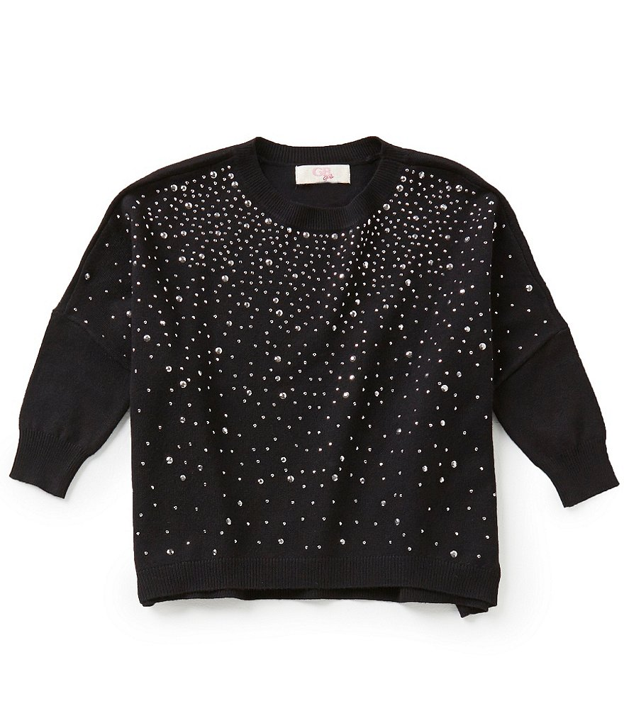 GB Girls Big Girls 7-16 Dolman-Sleeve Embellished Sweater
