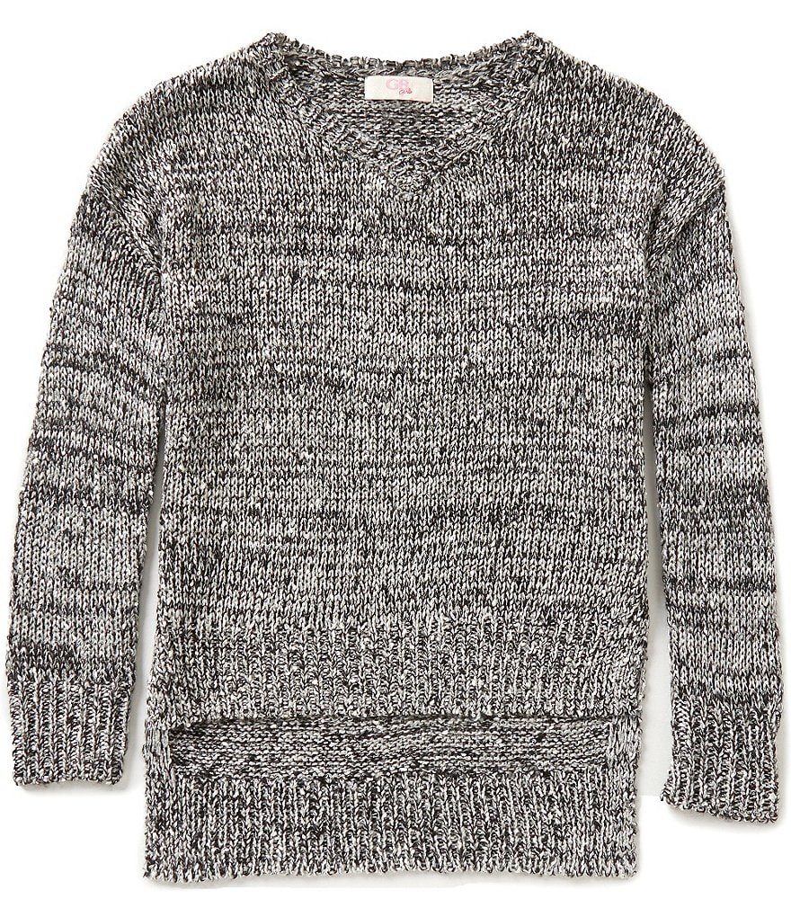 GB Girls Big Girls 7-16 V-Neck Sequin Sweater