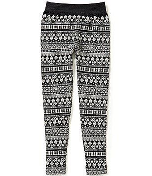 GB Girls Big Girls 7-16 Floral Jacquard Fleece-Lined Leggings
