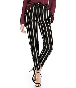 Band Of Gypsies Drawstring Waist Straight Leg Pinstripe Jogger Pant