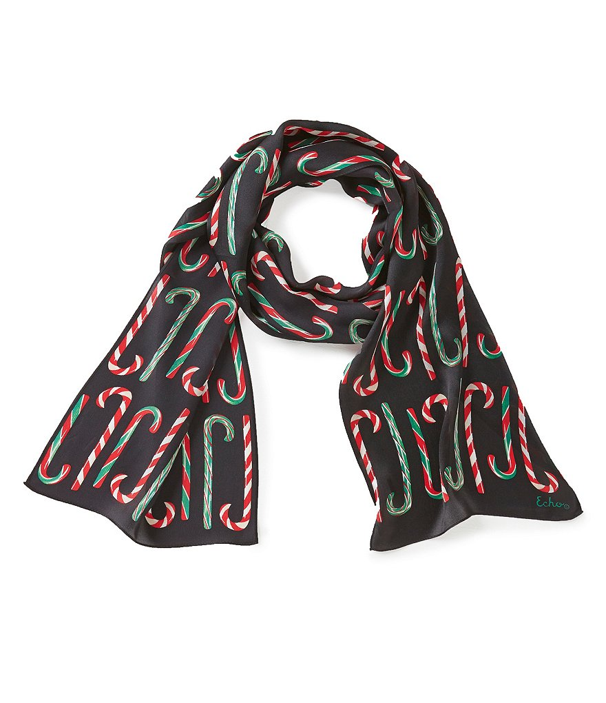 Echo Candy Cane Forest Silk Oblong Scarf