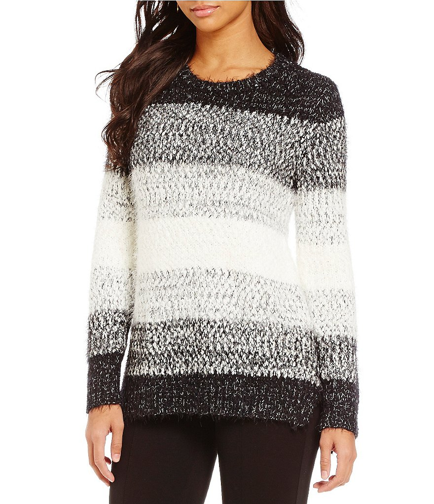 Gibson & Latimer Crew Neck Ombre Striped Eyelash Sweater
