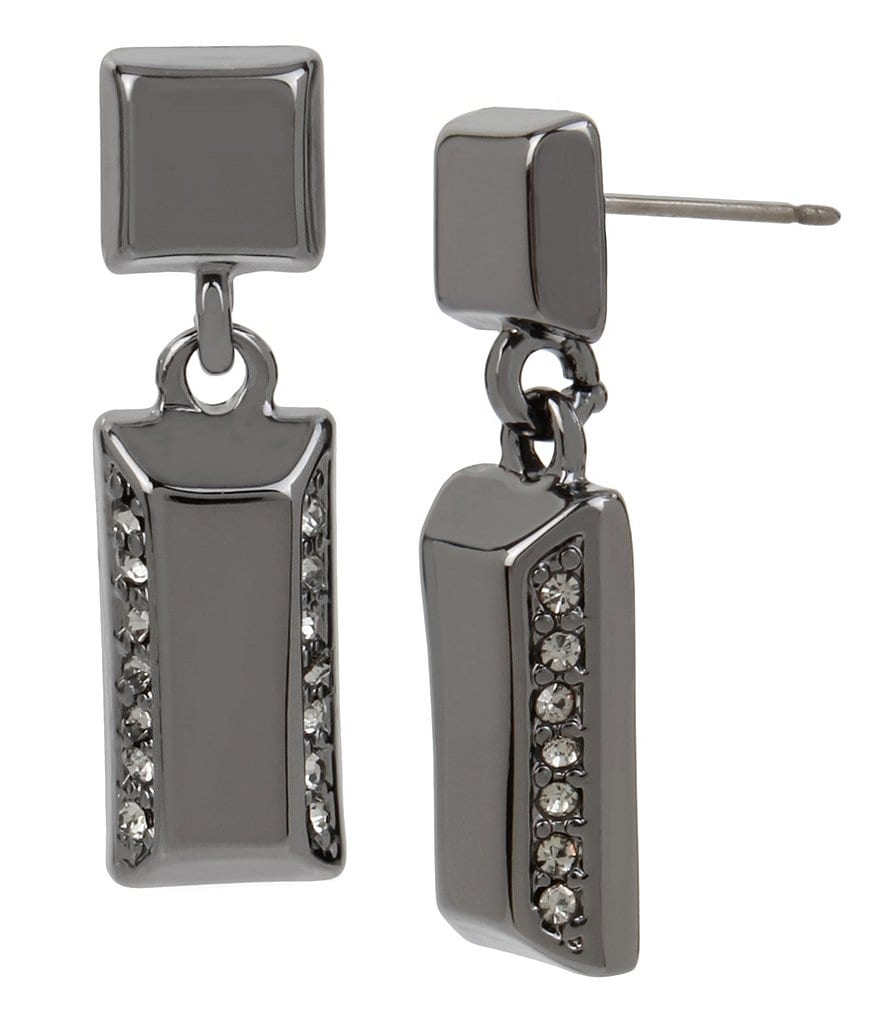 Kenneth Cole New York Pave Rectangle Double-Drop Earrings