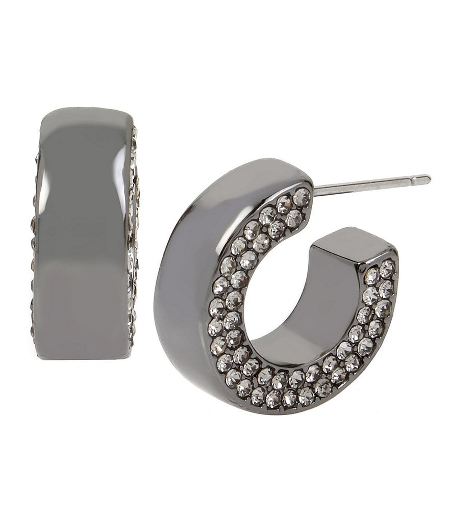 Kenneth Cole New York Pavé Hematite Huggie Hoop Earrings