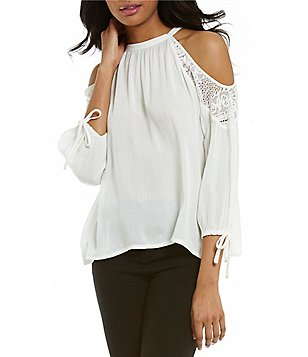 Band Of Gypsies Crochet Cold Shoulder Blouse
