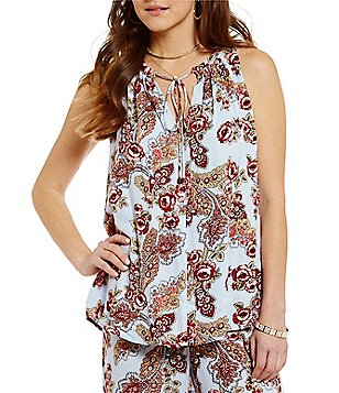 WAYF Split Neck Sleeveless Printed Mason Top