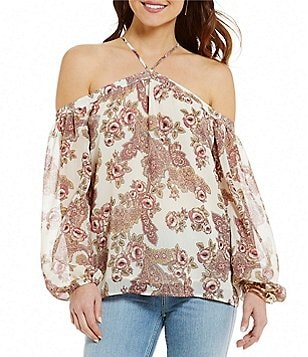 WAYF Liberty Halter Neck Cold Shoulder Printed Top