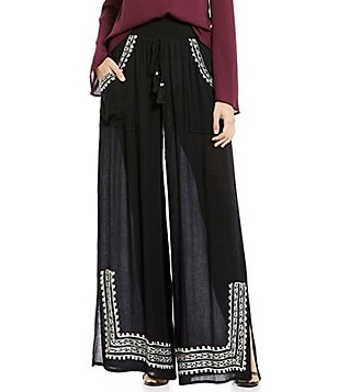 Band Of Gypsies Tassel Drawstring Embroidered Wide-Leg Pant