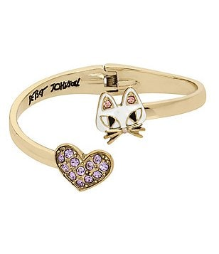 Betsey Johnson Cat & Pavé Heart Bypass Hinge Bangle Bracelet