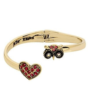 Betsey Johnson Owl & Pavé Heart Bypass Hinge Bangle Bracelet