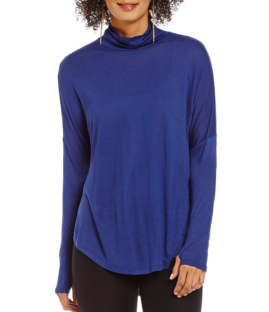 MICHAEL Michael Kors Long Sleeve Drop Shoulder Turtleneck Knit Top