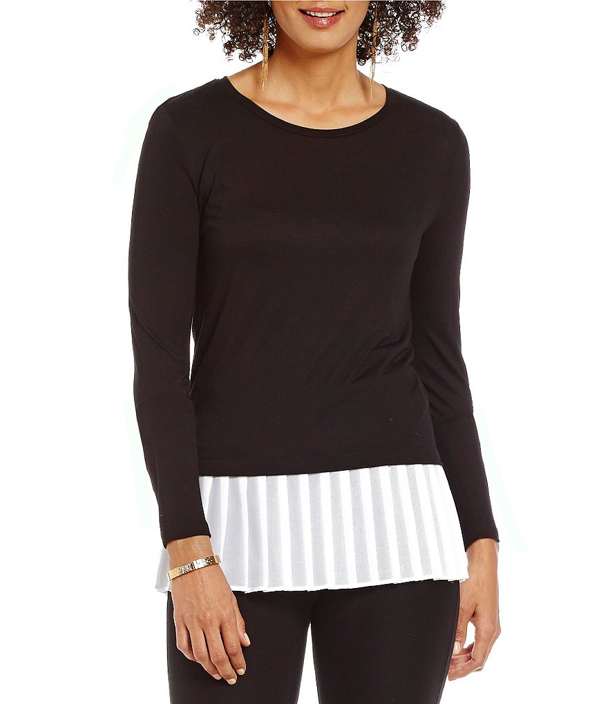 MICHAEL Michael Kors Pleated Georgette Hem Fine Gauge Knit Top