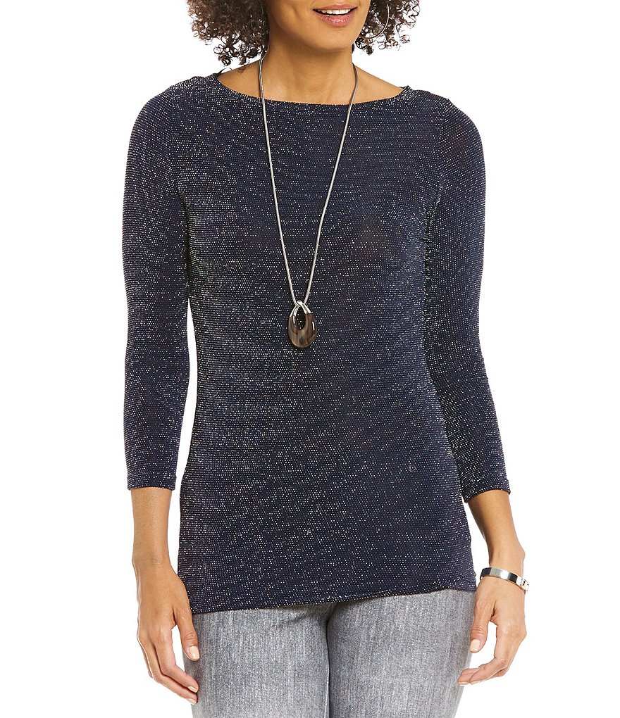 MICHAEL Michael Kors Metallic Dot Knit Boat Neck Top