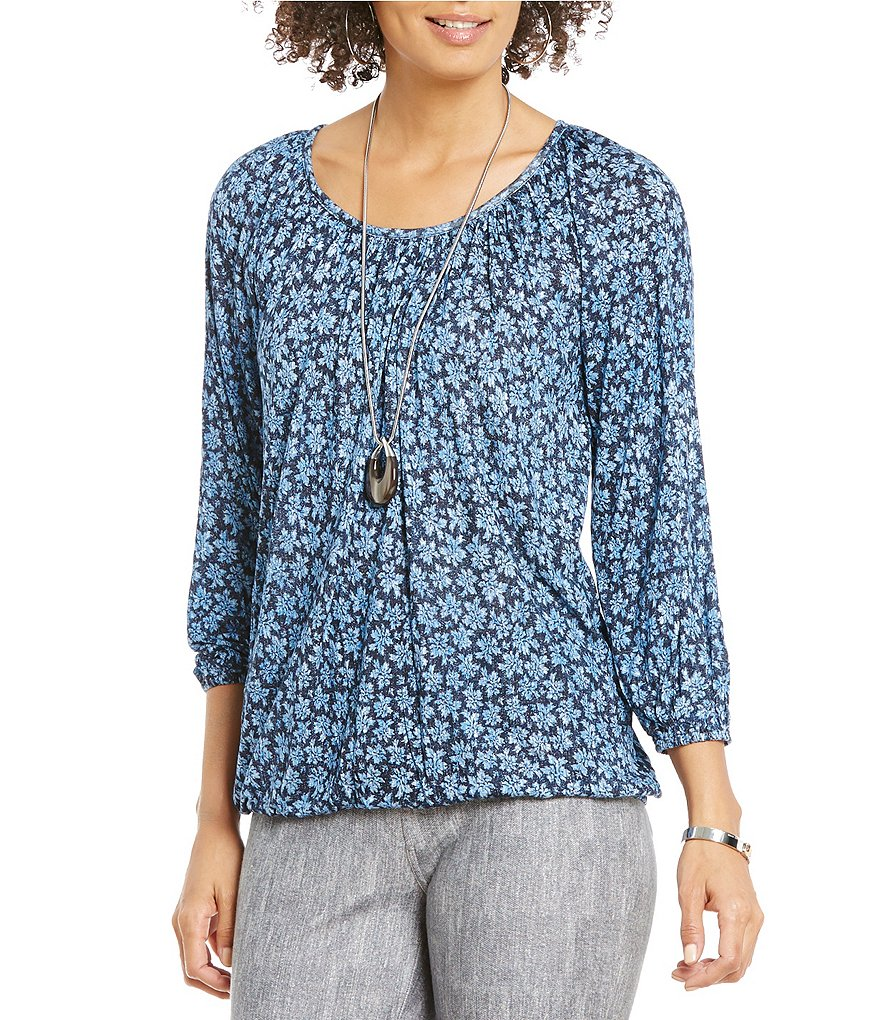 MICHAEL Michael Kors Textured Floral Print Knit Jersey Peasant Top