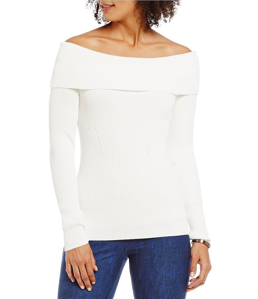 MICHAEL Michael Kors Off-The-Shoulder Cowl Neck Ribbed Sweater