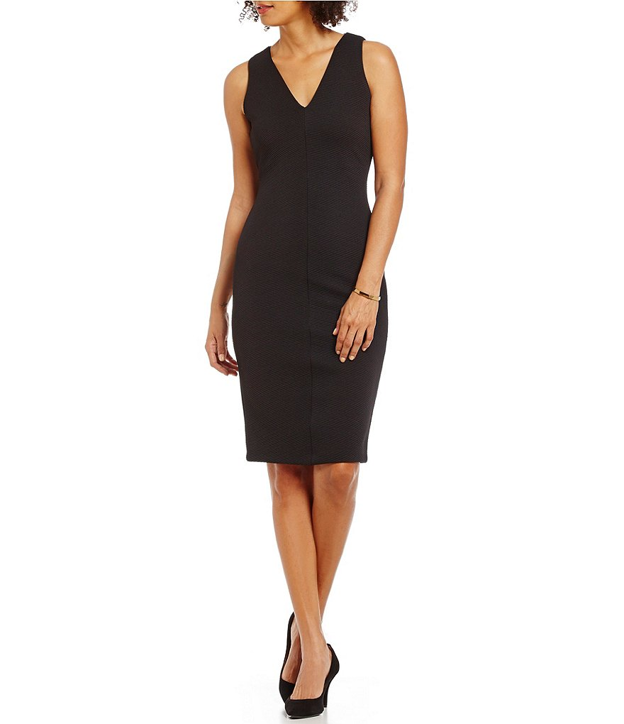MICHAEL Michael Kors Ottoman Ribbed Knit V-Neck Sheath Dress