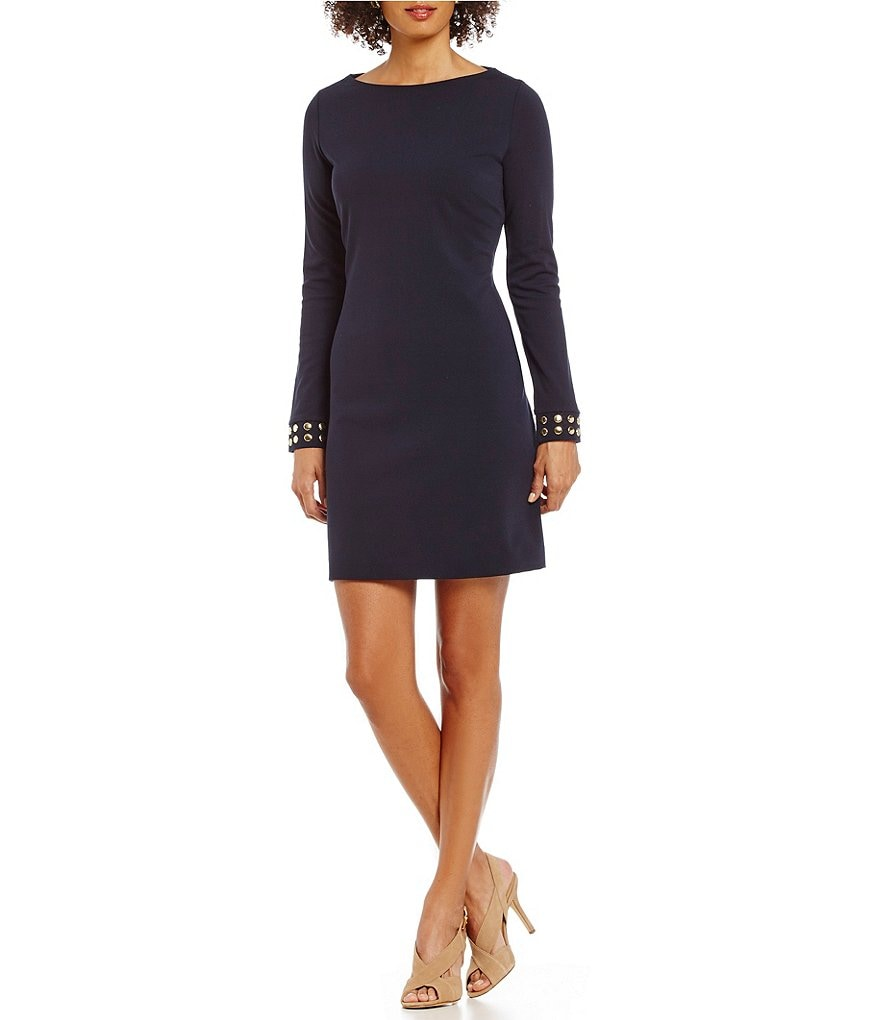 MICHAEL Michael Kors Stud Embellished Cuff Ponte Knit A-Line Dress